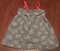Gymboree Tropical Breeze Floral Flower Denim Ruffle Dress Girls Size 4