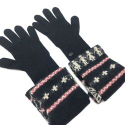 AUTHENTIC CHANEL Long Gloves Navy Blue Wool x CashmereNylon