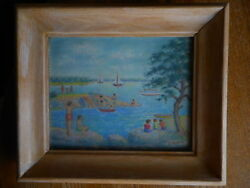 Colored Pencil ? Framed Beach Sail Boats Unknown artist art signed E. Hedrich