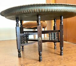 Antique Carved Bronze Coffee Tray Table Made In Iran Persia