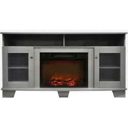 Electric Fire Place Fifty Nine Inches Gray Entertainment Stand with Log Display