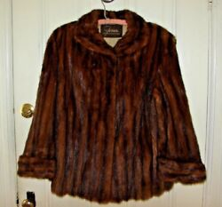 HEAVY REAL MINK THICK FUR COAT PLUS SIZE WIDE ARM XL 1X 2X WRAP SHRUG STOLE VTG