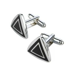 Silver Black Triangle Cufflinks Business Wedding Formal for Suit Formal Party GBP 3.69