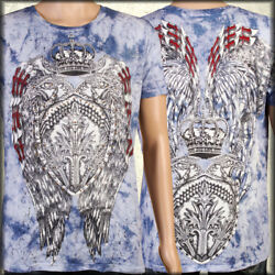 Eagle Shield Crown Wings Medieval Rhinestones UFC MMA Mens T-Shirt Blue Crystal