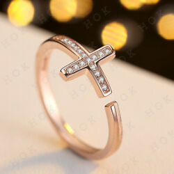 0.10 Ct Round Cut Diamond Cross Women's Engagement Ring In Real 10k Rose Gold