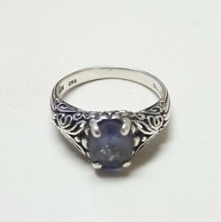 925 Sterling Silver Oval Purple Amethyst Gemstone Ring Size 5.75 5 34
