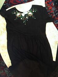 Women#x27;s Brown FLORAL SHENANISANS LONG MATERNITY DRESS SIZE L $22.20