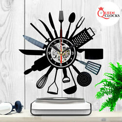 Vinyl Clock Kitchen Record Wall Dining Diner Decor Cook Xmas Gifts Ideas Women $12.99