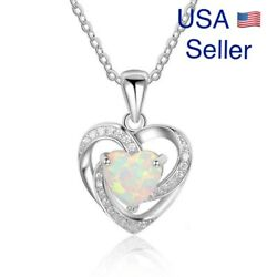 """Women 925 Sterling Silver Plated Faux Opal Heart Cubic Pendant Necklace 18""""N128"""