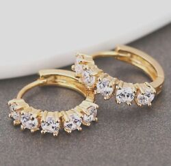 Lab Simulated Diamond Iced Men#x27;s Small Gold Sterling Silver Hoop Earrings $21.59