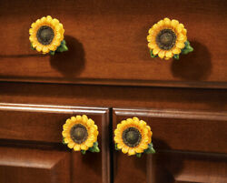 Sunflower Vintage Kitchen Resin Cabinet Knobs Drawer Pulls Country Home Decor $14.49