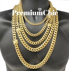 Mens Miami Cuban Link Chain HEAVY 18k  14k Gold Plated Stainless Steel