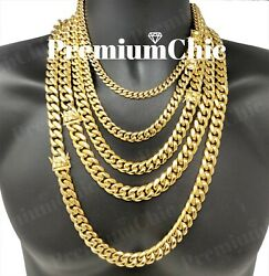 Mens Miami Cuban Link Chain HEAVY 18k  14k Gold Plated Stainless Steel  $17.99