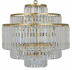 25quot; W Chandelier Cut Glass Crystals Hang from 5 Tier Antique Brass Frame $1489.00