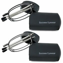 Reading Glasses 2 Pair Black and Gunmetal Readers Compact Folding Unisex $17.99