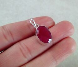 NATURAL OVAL RED RUBY 925 STERLING SILVER PENDANT 1