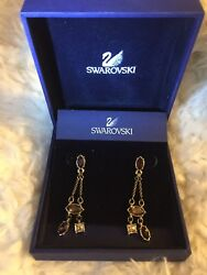 Authentic Swarovski Crystal Pierced Earrings Chandelier Purple Gold RARE $139.95