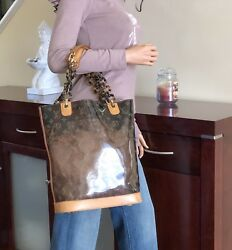 Authentic Louis Vuitton Monogram Vinyl Cabas Ambre MM Shoulder Bucket bag