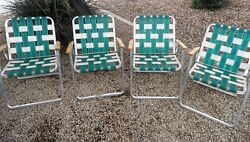 4 VINTAGE WHITE GREEN WEB LAWN CHAIRS GREAT CONDITION