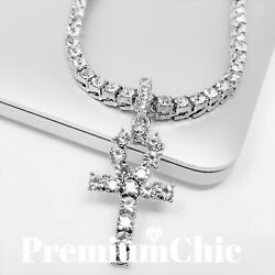 ANKH Cross Pendant Tennis Chain 14K Plated Gold Silver Rose HipHop ICED Necklace $14.49