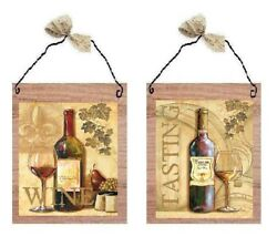 Paris Wine Tasting Pictures Beige Grapes Kitchen Bottle Wall Hangings Plaques $10.99