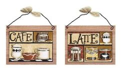 Coffee Pictures Cafe Latte Mugs Tan Beige Kitchen Wall Hangings Plaques $10.99