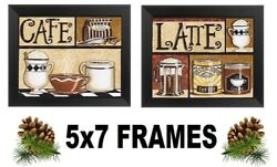 💗 5x7 Coffee Pictures Cafe Latte Mugs Tan Beige Kitchen Wall Hangings $13.99