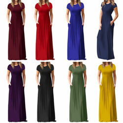 Womens Boho Casual Polyester Short Sleeve Evening Party Beach Long Maxi Dress