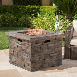 Natural Stone Propane Gas Outdoor Patio Fire Pit w Lava Rocks Fireplace Heater