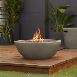 Grey Concrete Propane Gas Fire Bowl Pit Outdoor Patio Backyard Fireplace Heater