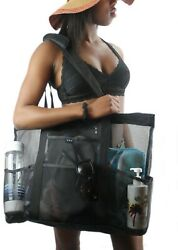 Large Mesh Beach Bag with Zipper & Pockets - XL Canvas Bottom Tote
