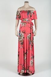 Janette Fashions Off Shoulder Coral Soft Ivory White Floral Maxi Long Dress S $29.98