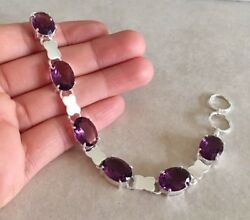 NATURAL FACET OVAL PURPLE AMETHYST 925 STERLING SILVER LINK CHAIN BRACELET 8""