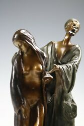 NAMGREB BERGMAN BRONZE SCULPTURE ARAB & SLAVE GIRL ON RUG FIGURE ART - AUSTRIA