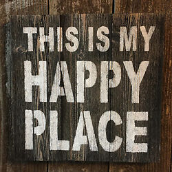 Beach Cabin Primitive Decor THIS IS MY HAPPY PLACE Rustic Wood Wall Art HP Sign