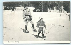 Mother Daughter Snowshoeing Trip Vintage Wooden Snowshoes Canada Postcard A89 $6.74