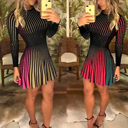 Sexy Women Long Sleeve Party Evening Cocktail Club Short Mini Casual Dress