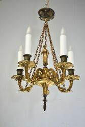 Bronze Small Scale French Five Arm Chandelier Figural Female Detail Center $1900.00