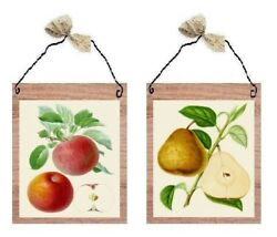 💗 Red Apple amp; Pear Pictures Fruit Kitchen Decor Wall Hangings Plaques $7.99