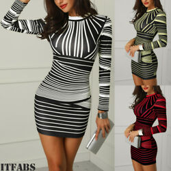 Hot!Womens Bodycon Striped Print Evening Party Cocktail Club Short Mini Dress