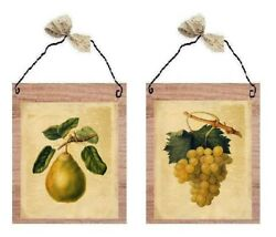 💗 Fruit Pictures Pear amp; Grapes Yellow Kitchen Decor Wall Hangings Plaques $10.99