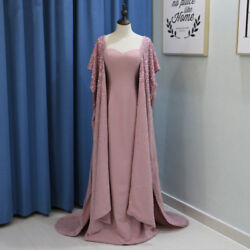 Luxury Arabic Celebrity Evening Dresses with Cape Sleeve Beaded Formal Prom Gown