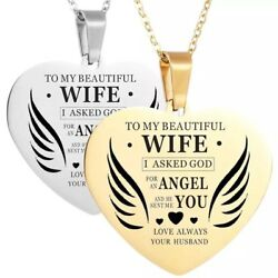 To My Beautiful Wife- God Sent Me You- Christian Heart Pendant Necklace N121