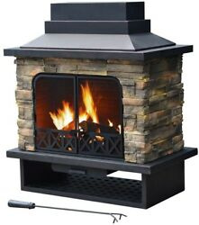 Sunjoy 42 x 24 Durable Steel Faux Stone Portable Outdoor Fireplace Wood Fuel