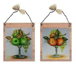 💗 Green Apple amp; Orange Pictures Fruit Kitchen Decor Wall Hangings Plaques $7.99