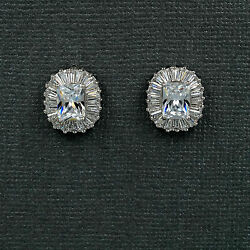 18K White Gold Plated Square Cubic Zirconia CZ  Wedding Bridal Stud earrings 624