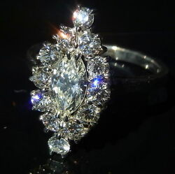 Diamond 1.9ct 14K White Yellow Rose Gold Engagement Cocktail Ring Marquise Large