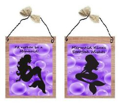💗 Mermaid Pictures Bathroom Lavender Purple Wall Hangings Home Decor Plaques $10.99