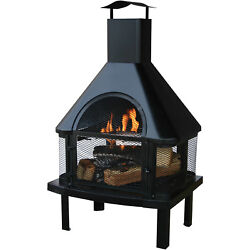 Patio Wood Burning Fireplace Outdoor Fire Pit Heater Backyard Chimney House Kit
