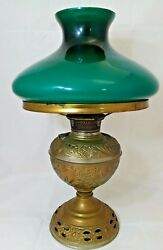 Antique Brass B amp; H Bradley amp; Hubbard Oil LAMP original green glass shade $219.45